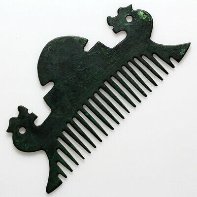 Museum Quality Ancient Bronze Horse Heads Comb-Very Rare