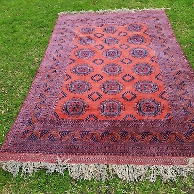 Vintage Afghan Rug Carpet 120in x 80in