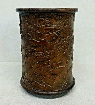 Old Chinese Hand Carved Bamboo Brush Pot W/ Inscriptions Cranes