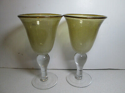 2 - Light Amber Controlled Bubble Style Clear Stem Water Goblets Glasses