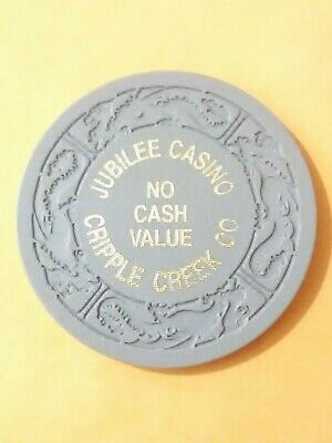 Jubilee Casino Cripple Creek, Colorado Gray No Cash Value Gaming Chip!