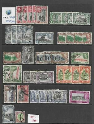WC1_3485 BRITISH COLONIES. CEYLON. Dealer stock nice 1935-1938 stamps. MH/Used