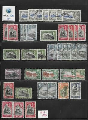 WC1_3481 BRITISH COLONIES. CEYLON. Dealer stock of useful 1935-1938 stamps. Used