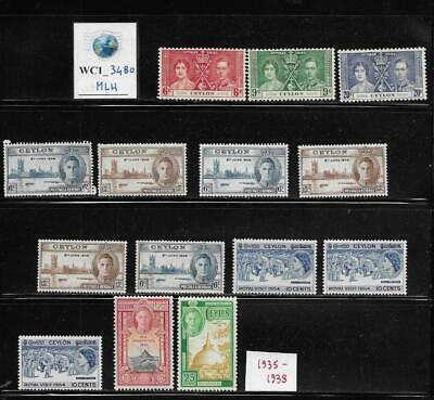 WC1_3480 BRITISH COLONIES. CEYLON. Dealer stock of useful 1935-1938 stamps. MLH