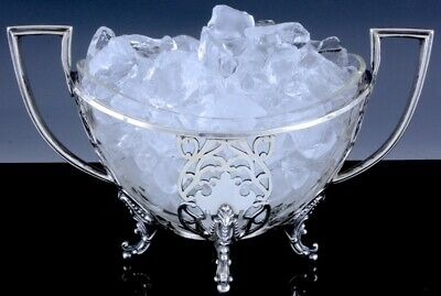 Very Fine Antique Handled Pierced Silver Plate Glass Basket Vase Bowl Ice Bucket
