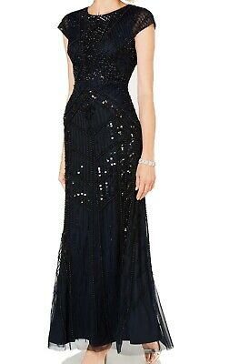 Adrianna Papell Women's Dress Blue US Size 4 Gown Beaded Embellished $359- #447