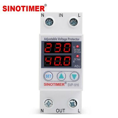 Dual LED Display 40A 63A Din Rail 230V Adjustable Voltage Surge Protector Relay