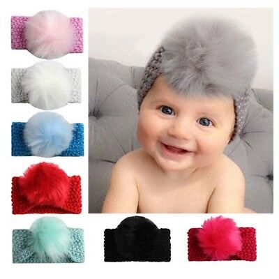 Infant Baby Girl Knitted Poms Head Band Hairband Headwear Hair Accessories Shns