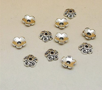 130pcs gold tone 6mm flower spacer bead caps findings h0205