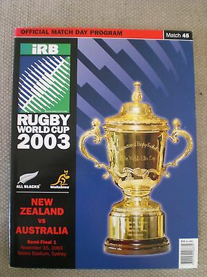 New Zealand ALL BLACKS vs. Australia 2003 Rugby WC SemiFinal Programme