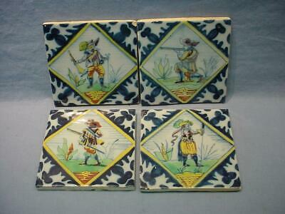 4 Antique 1800's Dutch Delft Tiles - Musketeer, Swordsman