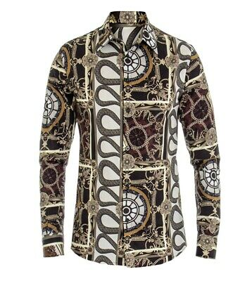 Camicia Uomo Maniche Lunghe Colletto Texture Fantasia Multicolore Regular Fit...