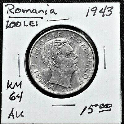 CHOICE KM# 64 Mihai I RARE OLD COIN ROMANIA 100 LEI 1943 or 1944