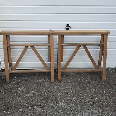 Pair Of Beech Wooden Trestle Table Legs Saw Horse Stand Vice Woodwork