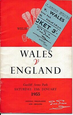 RUGBY UNION - Wales v England 1955 + MATCH TICKET