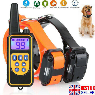 Pet Dog Training Collar Rechargeable Electric Shock 800M LCD Display Waterproof