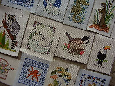 14 x Completed cross stitch small motifs Animals/Nature See Photos