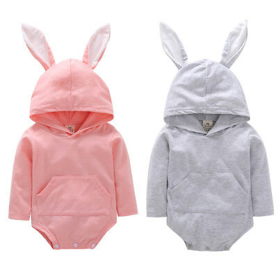 Toddler Infant Baby Girls Boys Cartoon Long Sleeve Hooded Romper Jumpsuit V8