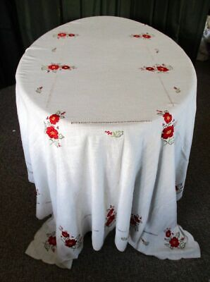 "LARGE TABLECLOTH EMBROIDERED RED FLOWERS -66""x 102"""