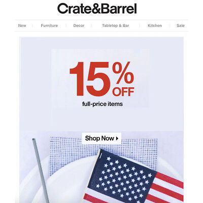 15% OFF Crate and Barrel Coupon - Sent Fast - Expires 11-30-19
