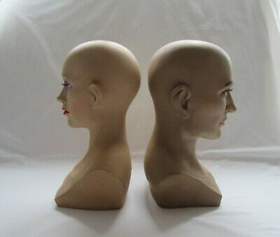 2 quirky eerie spooky older modern plastic male & female shop mannequin heads