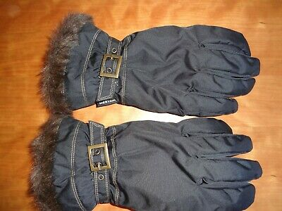 Women's Hestra Primaloft Insulation Leather Palm Black Gloves in size 8