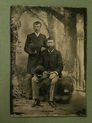 Sixth-Plate Tintype Studio Portrait of Two Well-Dressed Young Men  Circa 1890