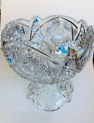 Antique ABP Cut Glass Crystal Punch Bowl w/Separate Pedestal