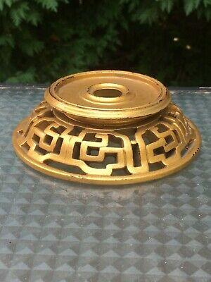 Vintage Antique Chinese Carved Wood Vase Bowl Stand Gold Tone