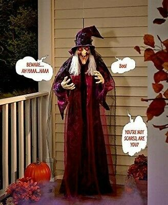 "71"" "" Life Size Hanging Animated Talking Witch Halloween Haunted House Prop..."