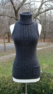 Oscar de la Renta Dark Gray Chunky Sleeveless Cashmere Turtleneck Sweater Size S