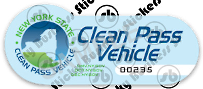 Novelty 4.5 inch New York Clean Pass Vehicle (CPV) Long Island HOV Sticker