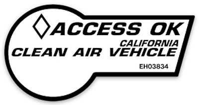 White novelty car pool access ok clean air vehicle CAV HOV sticker decal 4 inch