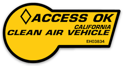 Yellow novelty car pool access ok clean air vehicle CAV HOV sticker decal 4 inch