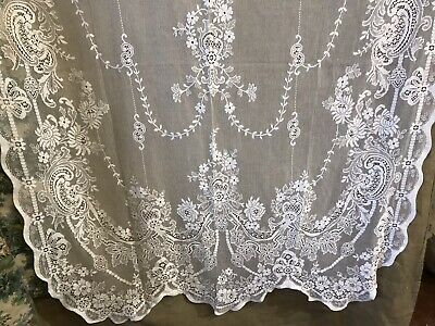 "Beautiful Floral Scallops Heritage White cotton lace curtain panel 58""/120"""