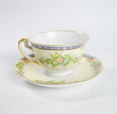 Meito China Floral Cecil Pattern Tea Cup Saucer Set Handpainted Made in Japan