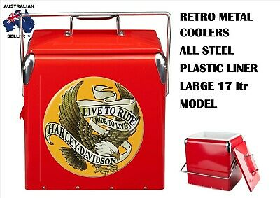 New Vintage Metal Retro Coke Cooler With Harley Live To Ride Label