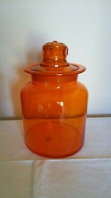 Orange Vintage Glass Jar with Glass Lid - Hand-Blown - Made in Japan - C 1960s