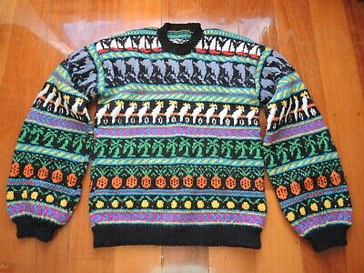 Jenny Kee Australian hand knitted childs jumper from the 1980's
