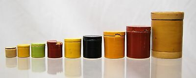 Rare Series 9 Boxes Pull-Out Miniatures Wooden Lacquered China Japan h1 in 5,5cm