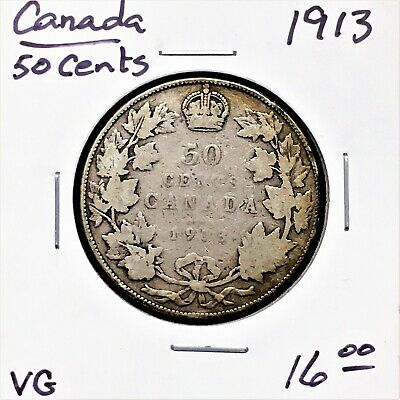 1913(no mint mark) CANADA 50 CENTS SILVER COIN KING GEORGE V KM# 25 VG
