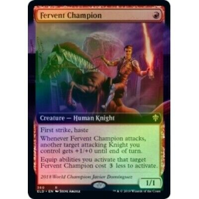 FOIL FERVENT CHAMPION (EXTENDED ART) Throne Of Eldraine Variants ELDV Magic MTG