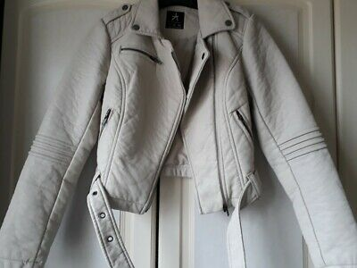 Girls/Ladies Stone Coloured Faux Leather Jacket Size 6