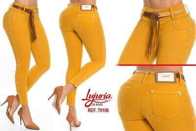 Lujuria Jeans Colombianos Authentic Colombian Push Up Yellow Jeans Levanta Cola