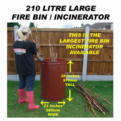 210 Litre Large Garden OutDoor Burner Incinerator Fire Bin For Bonfire Or Waste