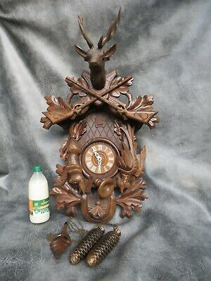 A Nice Large 8 Day Carved Hunting Cuckoo Clock By Albert Schwab * Re Oiled *