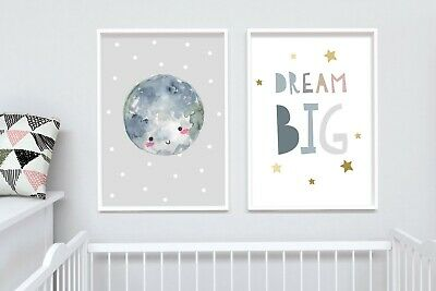 2 Modern Nursery Prints Cute Moon Space Dream Big Wall Art Picture Room Decor