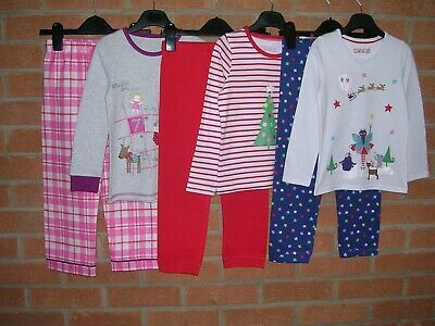 MARKS & SPENCER Girls Festive Christmas Red Cotton Pyjamas Bundle Age 4-5 110cm