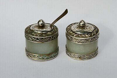 Antique Chinese 19thC Carved Jade Archers Thumb Ring x2  White Metal SaltCruet