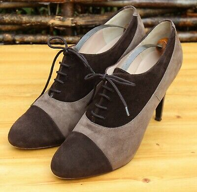 LK Bennett Two Tone Suede Brown Taupe Brogue Heels Shoes - EU 39 - UK 6